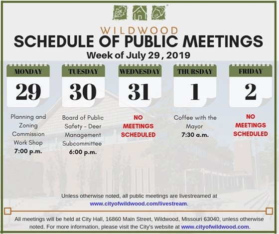 City of Wildwood Schedule of Meetings for the Week of July 29, 2019
