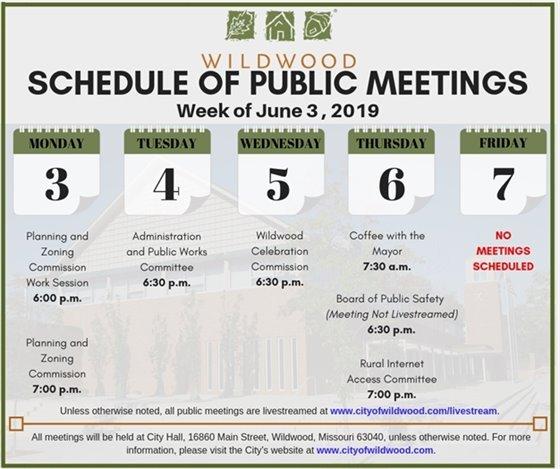 City of Wildwood Schedule of Meetings for the Week of June 3, 2019