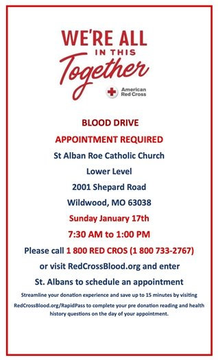 St. Alban Roe Church - Blood Drive - Sunday, January 17, 2021