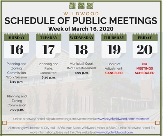 City of Wildwood - Schedule of Meetings for the Week of March 16, 2020