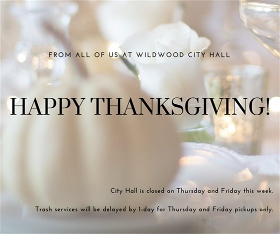 City Hall Closed - Happy Thanksgiving