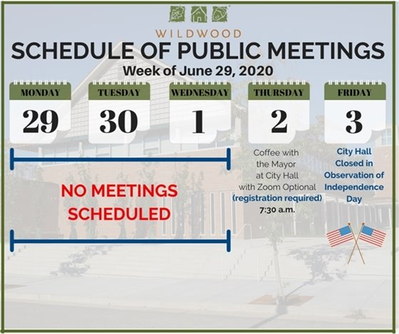 City of Wildwood - Schedule of Meetings for the Week of June 29, 2020
