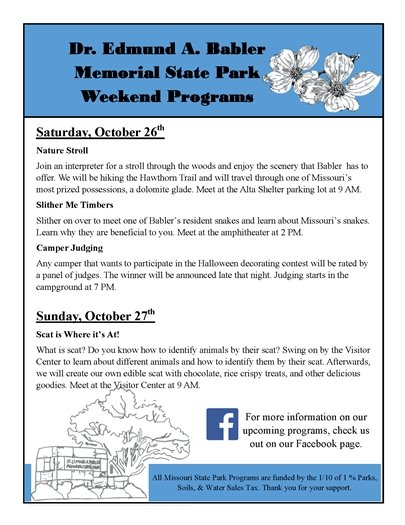 Weekend Programs @ Babler State Park - Wildwood, Mo.