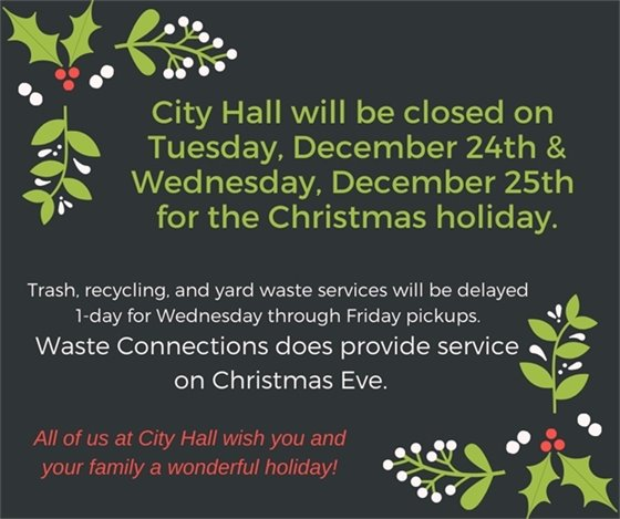 Holiday Closing and Waste Haulers Schedule - Week of December 23, 2019