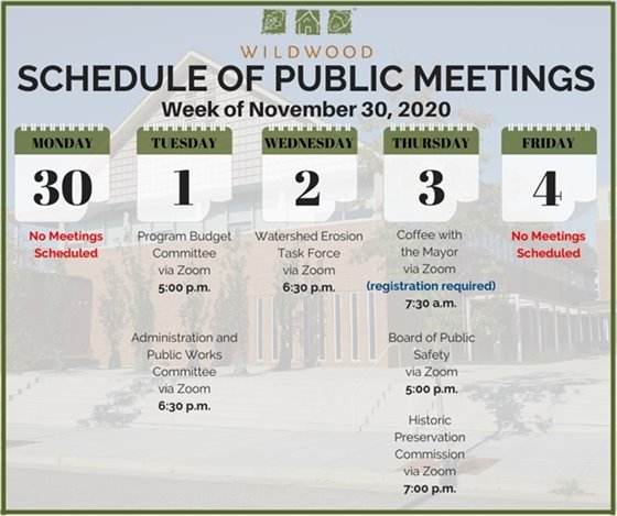 City of Wildwood - Schedule of Meetings for the Week of November 30, 2020