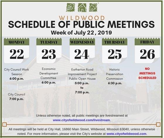 City of Wildwood - Schedule of Meetings for the Week of July 22, 2019