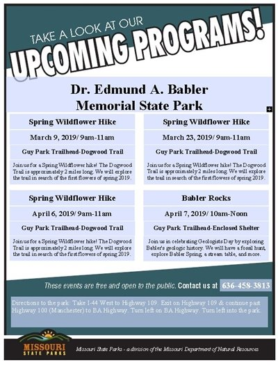 Great Programming @ Babler State Park - March through April 2019