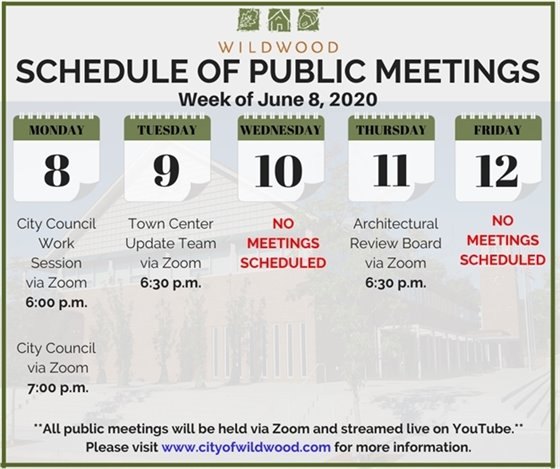 City of Wildwood - Schedule of Meetings for the Week of June 8, 2020
