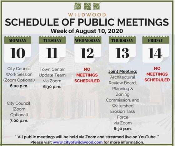 City of Wildwood - Schedule of Public Meetings for the Week of August 10, 2020