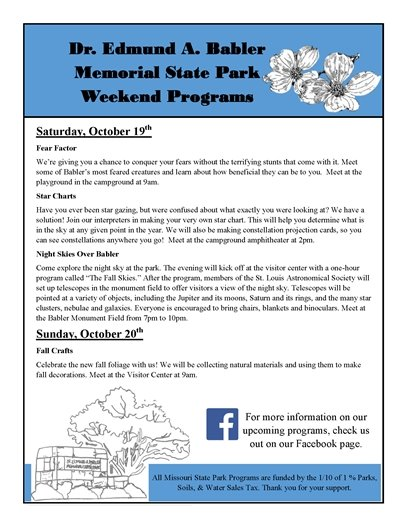 Babler State Park - Event Programming for the Weekend of October 19 and 20, 2019