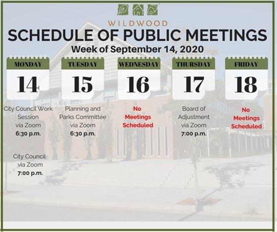City of Wildwood - Schedule of Meetings for the Week of September 14, 2020