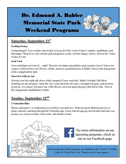 Babler State Park - Weekend Programs for September 21 and 22, 2019