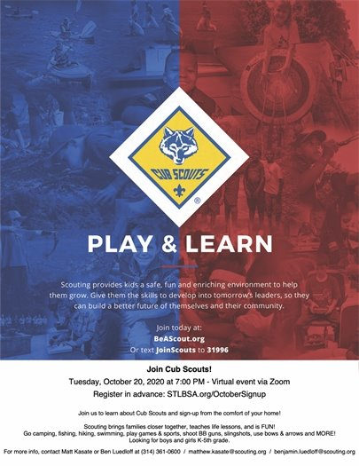 Cub Scouts - Play & Learn - October 20, 2020 @ 7:00 p.m.