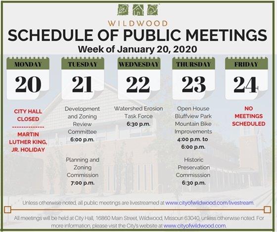 City of Wildwood Schedule of Meetings for the Week of January 20, 2020