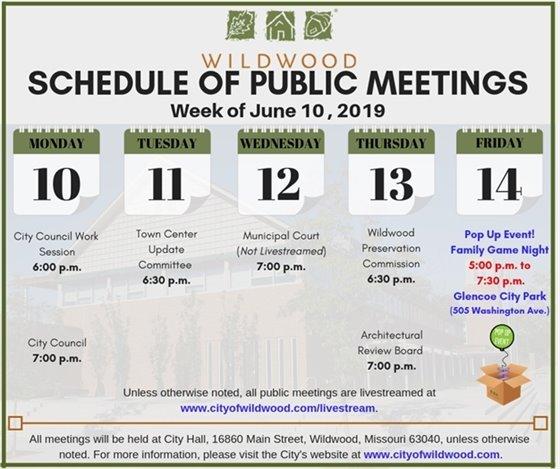 City of Wildwood, Missouri Public Meeting Schedule for the Week of June 10, 2019