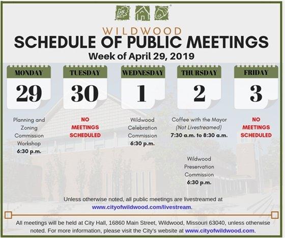 Schedule of Meetings of the City of Wildwood - Week of April 29, 2019