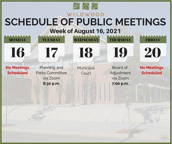 City of Wildwood - Schedule of Meetings for the Week of August 16, 2021