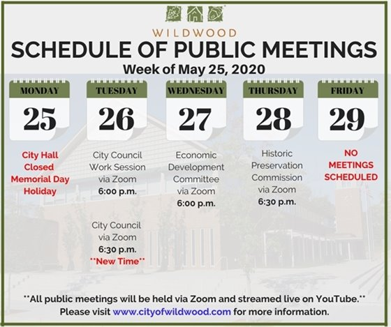 Schedule of Public Meetings for the Week of May 25, 2020 - City of Wildwood
