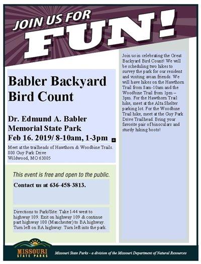Babler State Park - Backyard Bird Count - February 16, 2019