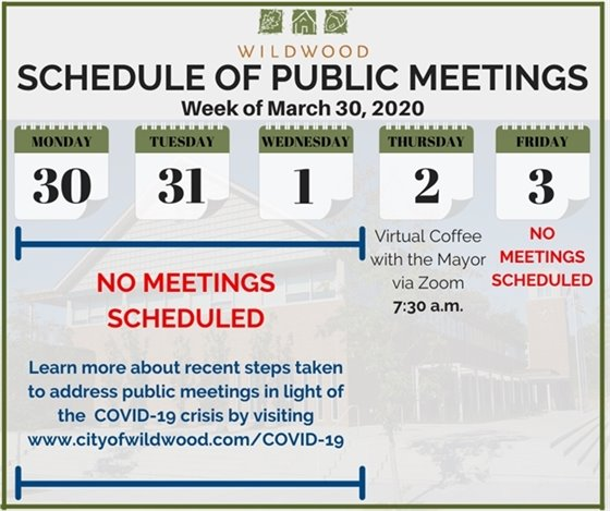 City of Wildwood - Schedule of Meetings for the Week of March 30, 2020