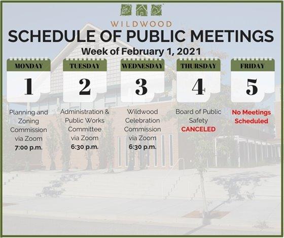 City of Wildwood - Schedule of Meetings for the Week of February 1, 2021