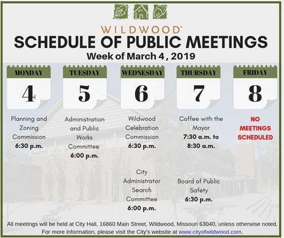 Schedule of Meetings of the City of Wildwood - Week of March 4, 2019
