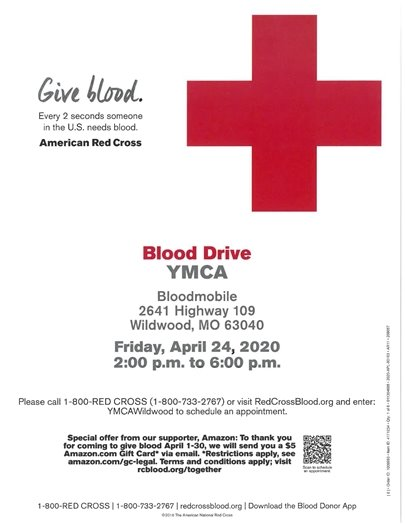 Wildwood Family YMCA and the American Red Cross - Blood Drive - April 24, 2020