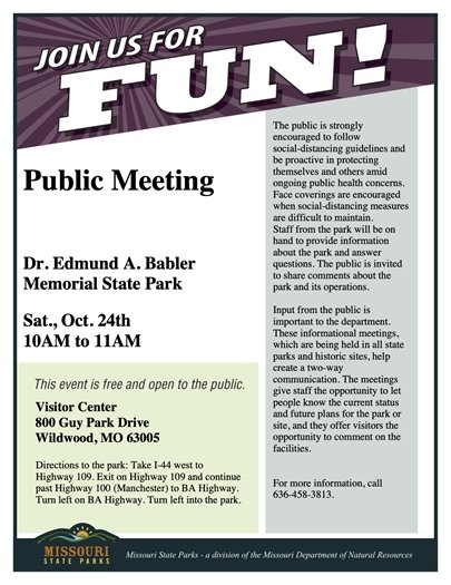 Babler State Park - Public Meeting - Saturday, October 24, 2020