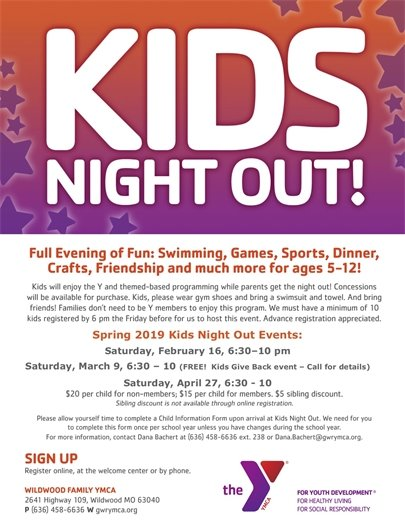 KIDS NIGHT OUT - WILDWOOD FAMILY YMCA - Saturday, February 16, 2019