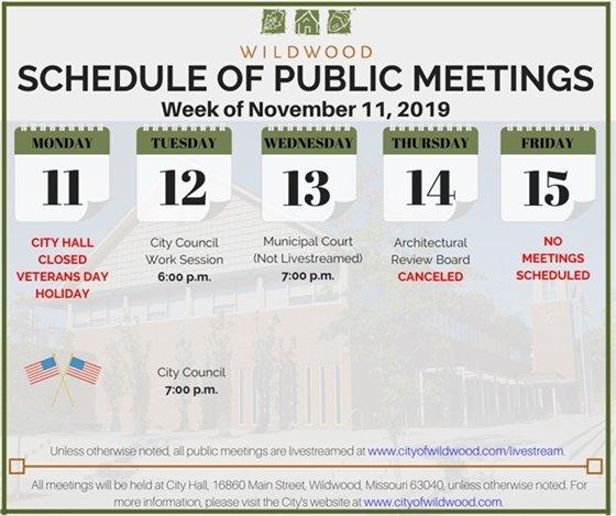 City of Wildwood - Schedule of Meetings - November 11, 2019