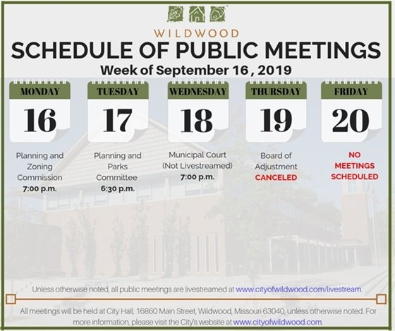 Schedule of Public Meetings for the City of Wildwood - Week of September 16, 2019