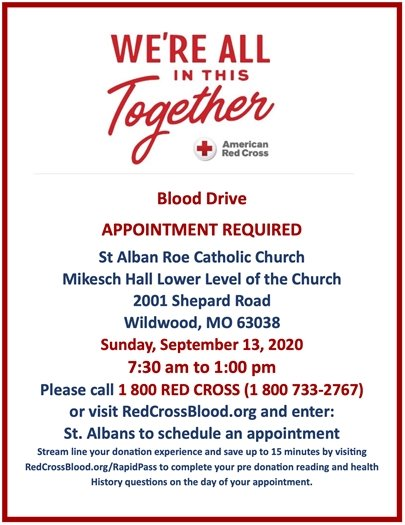 St. Alban Roe Catholic Church - Blood Drive - Sunday, Spetember 13, 2020