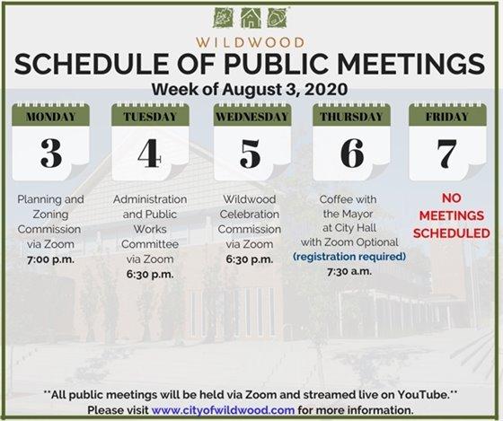 City of Wildwood - Schedule of Meetings for the Week of August 3, 2020
