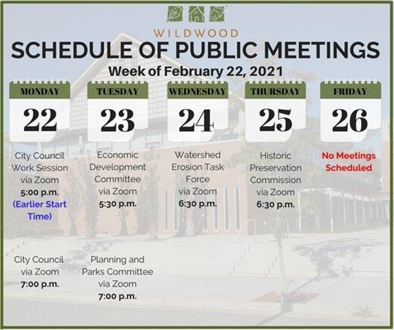 City of Wildwood - Schedule of Meetings for the Week of February 22, 2021