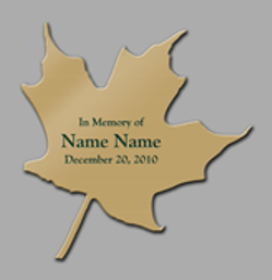 Tree plaque example in shape of leaf