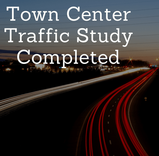 Town Center Traffic Study Completed with image of car lights at night