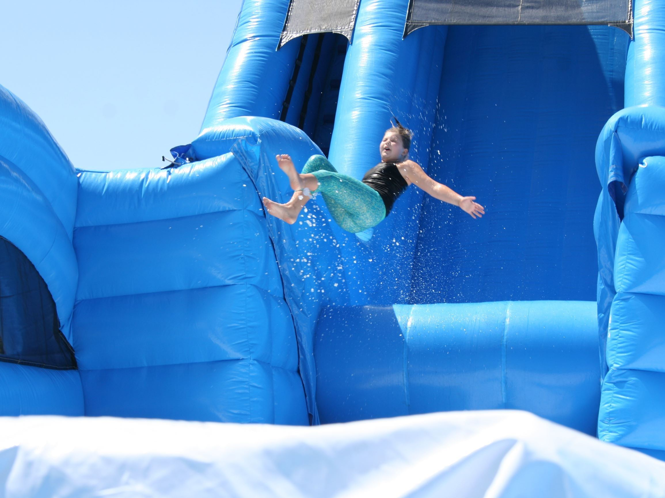 Boy on Water Slide