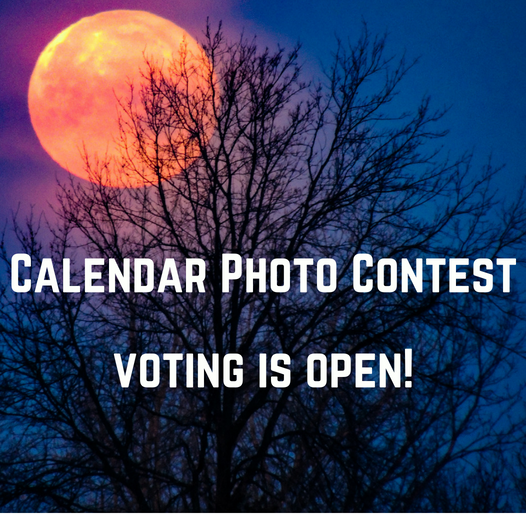 Photo of a full moon and text noting voting is open for the annual Calendar Contest