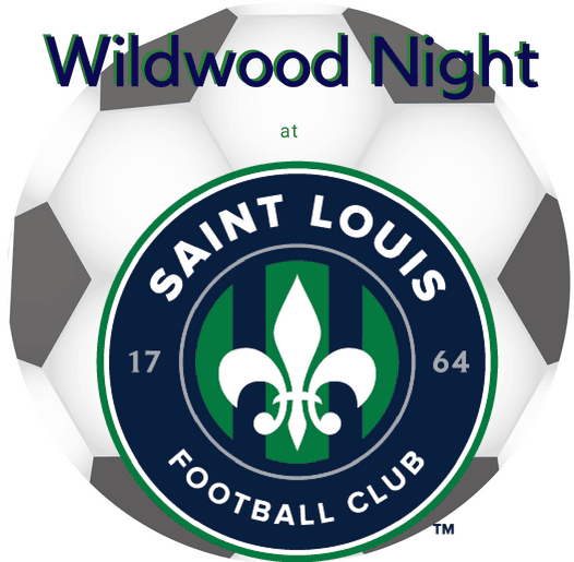 Soccer ball and STLFC logo noting Wildwood night