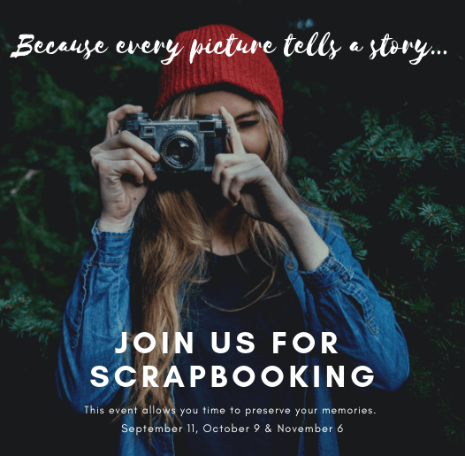 Image of woman with camera and join us for scrapbooking