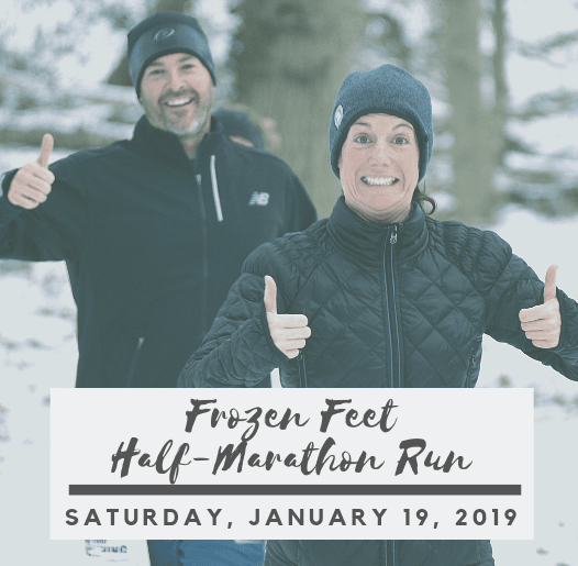 Image of 2 people running in the snow and text saying Frozen Feet Half-Marathon Run Saturday, Januar