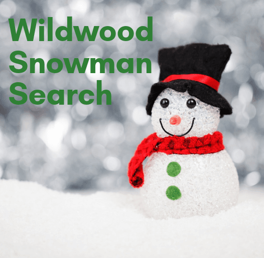 Wildwood Snowman Search with picture of snow and a snowman