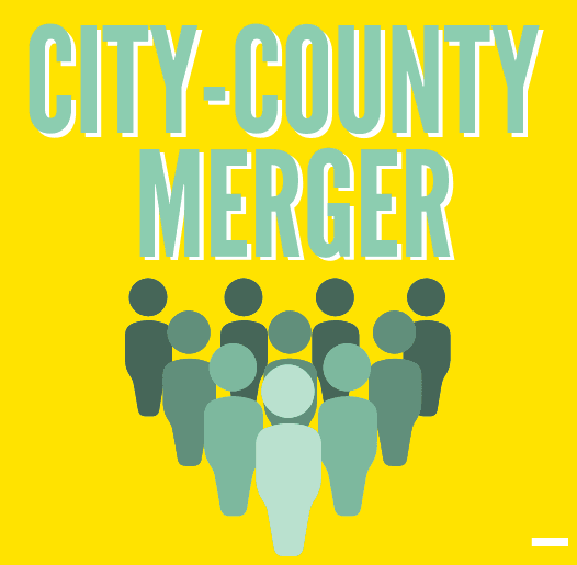 City-County Merger and a graphic of a group of people