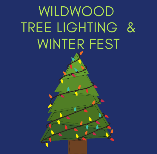 Wildwood Tree Lighting and Winter Fest text on a blue background with a tree strung with lights