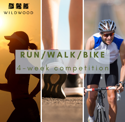 photos of a female runner, walking shoes, and a male bicyclist - text is run/walk/bike 4-week compet