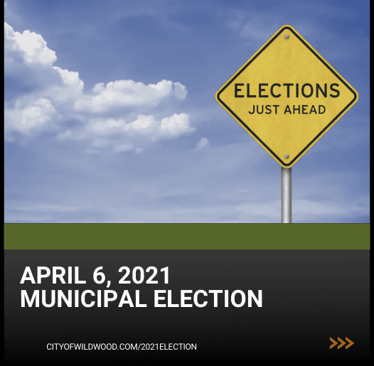 Road sign saying election just ahead for April 6, 2021 municipal election