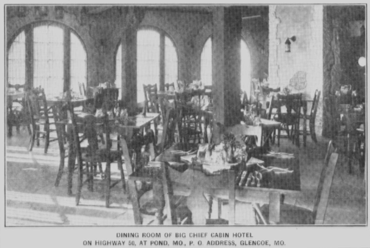 Photo from a newspaper of the Dining Room of the Big Chief Cabin Hotel
