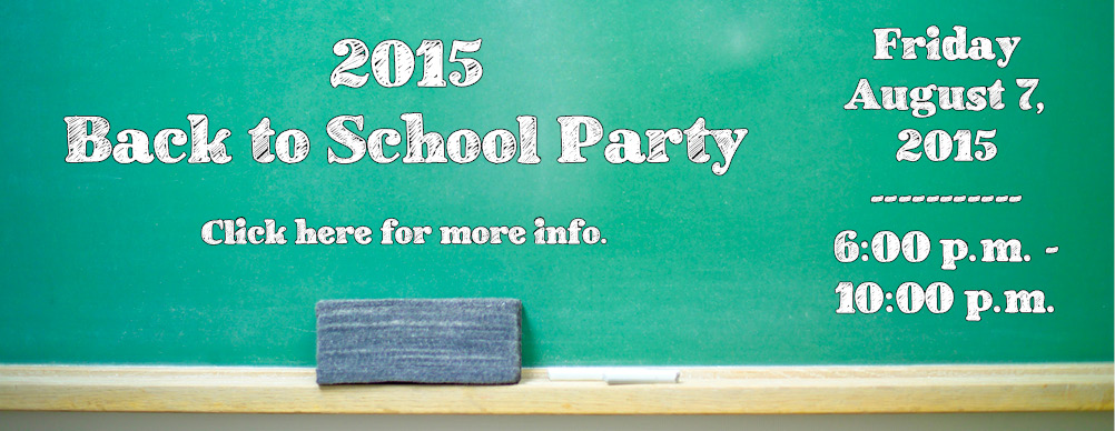 Back to School Party August 2015 Banner Ad